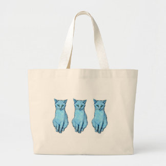 Grand Tote Bag Trois chats bleus