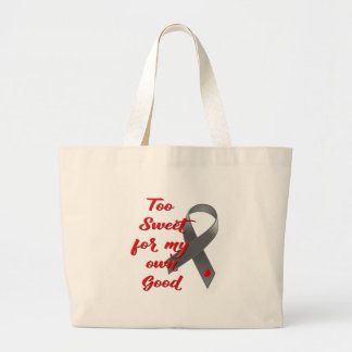 Grand Tote Bag Trop doux - cadeau de ruban de diabète