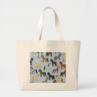 Grand Tote Bag Troupeau mignon de chevaux