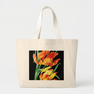 Grand Tote Bag Tulipes de perroquet sur le noir