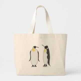 Grand Tote Bag Un dessin d'encre de couples de pingouin