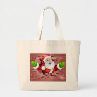 Grand Tote Bag Une illustration de Noël de Père Noël traversant