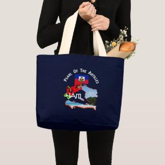 Grand Tote Bag Vacances ensoleillées de fleur et de carte de
