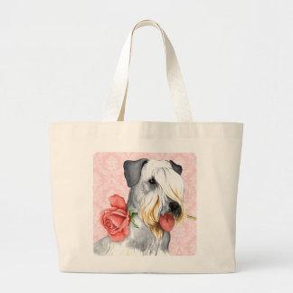 Grand Tote Bag Valentine Cesky rose Terrier