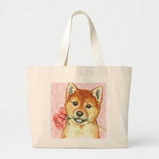 Grand Tote Bag Valentine Shiba rose Inu