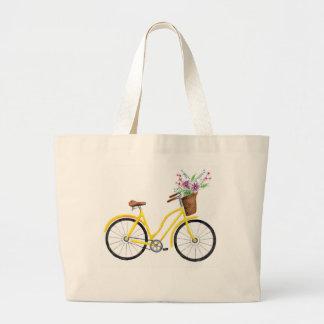 Grand Tote Bag Vélo jaune doux Fourre-tout