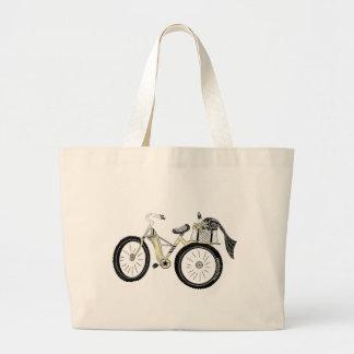 Grand Tote Bag Vélo jaune vintage avec le panier de pique-nique