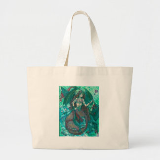 Grand Tote Bag Vert de Teal de mer d'océan de licorne de sirène
