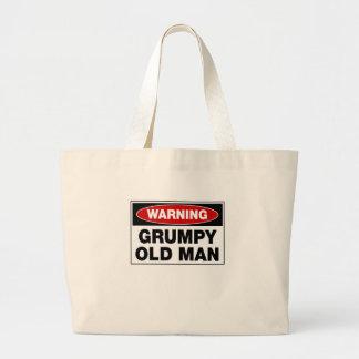 Grand Tote Bag Vieil homme grincheux d'avertissement