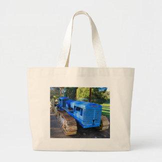 Grand Tote Bag Vieux tracteur et chenille bleus