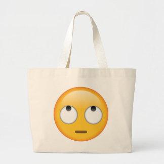 Grand Tote Bag Visage avec des yeux de roulement - Emoji