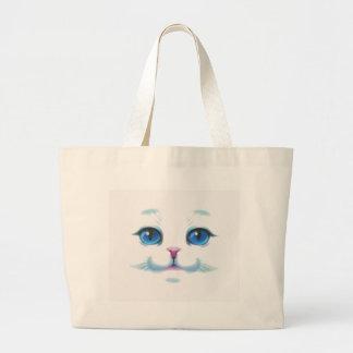Grand Tote Bag Visage blanc mignon d'yeux bleus de chat
