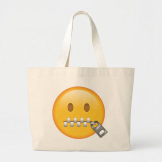 Grand Tote Bag Visage de Tirette-Bouche - Emoji