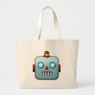 Grand Tote Bag Visage Emoji de robot