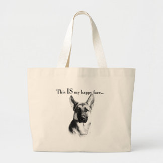 Grand Tote Bag Visage heureux de berger allemand