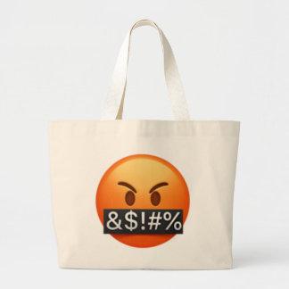 Grand Tote Bag Visage sérieux avec des symboles couvrant la