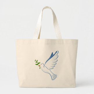 Grand Tote Bag Vol de colombe de blanc