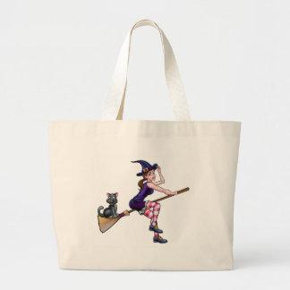Grand Tote Bag Vol de personnage de dessin animé de sorcière sur