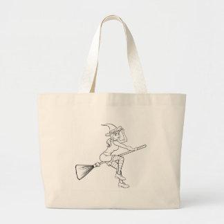 Grand Tote Bag Vol de sorcière de Halloween de bande dessinée sur