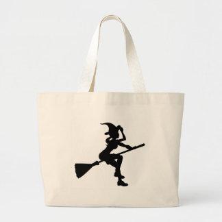 Grand Tote Bag Vol de sorcière de Halloween de silhouette sur le