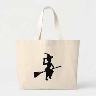 Grand Tote Bag Vol de sorcière de Halloween sur la silhouette de