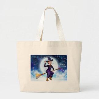 Grand Tote Bag Vol de sorcière de Halloween sur l'arrière - plan