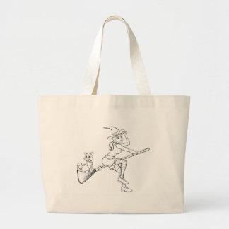 Grand Tote Bag Vol de sorcière et de chat de Halloween sur le