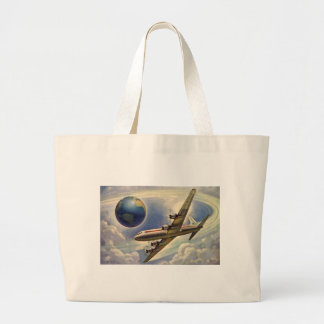 Grand Tote Bag Vol vintage d'avion autour du monde en nuages