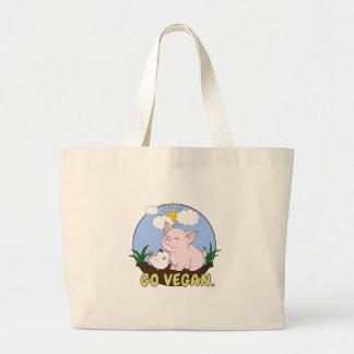 Grand Tote Bag Vont le végétalien - porc et poulet mignons