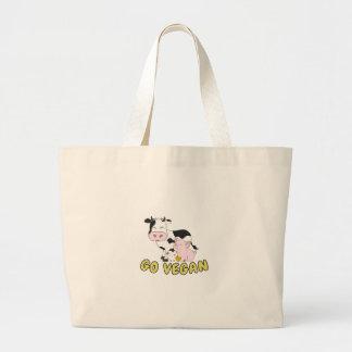 Grand Tote Bag Vont le végétalien - porc, vache et poulet mignons