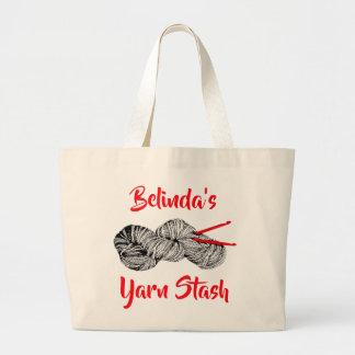 Grand Tote Bag (Votre nom) bavardez la cachette pour le crochet