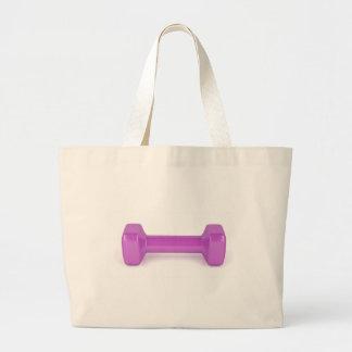 Grand Tote Bag Vue de face d'haltère rose