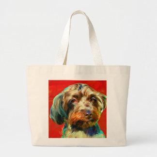 Grand Tote Bag Yorkie/caniche - rouge de Charli