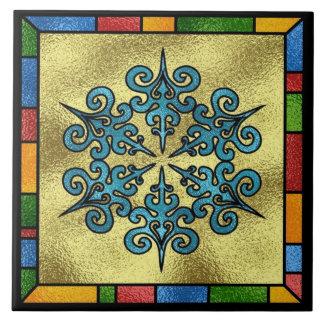 Grand trépied de tuile de flocon de neige coloré grand carreau carré