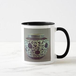 Grand vase bleu et blanc à Ming Mug