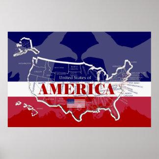 Grande affiche des Etats-Unis d'Amérique ; toute Poster