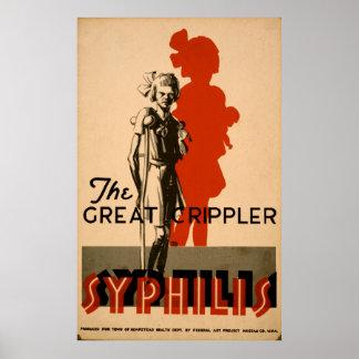 Grande affiche vintage de santé de Crippler WPA de Poster