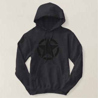 Grande broderie de décalque vintage noir d'étoile sweat-shirt à capuche