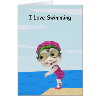 Grande carte de note observée de nageuse de fille