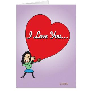 Grande carte drôle de Valentine d'amour pour lui