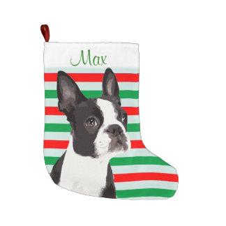 Grande Chaussette De Noël Bas d'animal familier de Noël de Boston Terrier