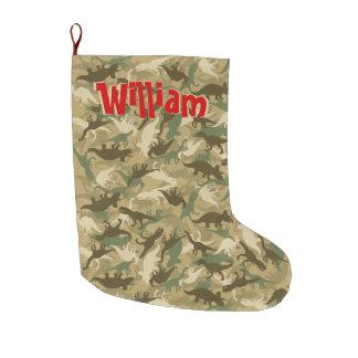 Grande Chaussette De Noël Bas de Noël de camouflage de dinosaure