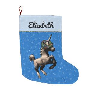 """Grande Chaussette De Noël Bas de Noël """"de licorne de vacances"""" (bleu)"""