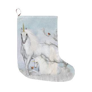 Grande Chaussette De Noël Bas de Noël de merles et de licornes d'hiver grand
