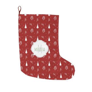Grande Chaussette De Noël Bas de Noël de monogramme de motif d'arbre de Noël