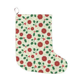 Grande Chaussette De Noël Bas de Noël de vacances de houx