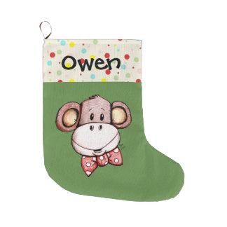 Grande Chaussette De Noël Bas mignon de Noël de petit singe