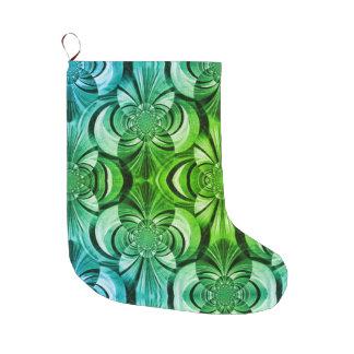 Grande Chaussette De Noël Bas vert et bleu d'abrégé sur de remous de Noël