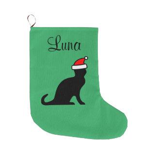 Grande Chaussette De Noël Chat mignon personnalisé avec l'animal de