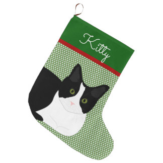 Grande Chaussette De Noël Chat noir et blanc personnalisé